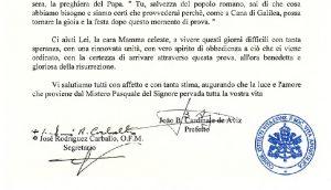 List Prefekta i Sekretarza Kongregacji